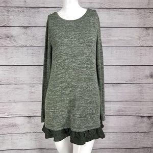 LOGO Lori Goldstein S Pullover Tunic Top Lace hem